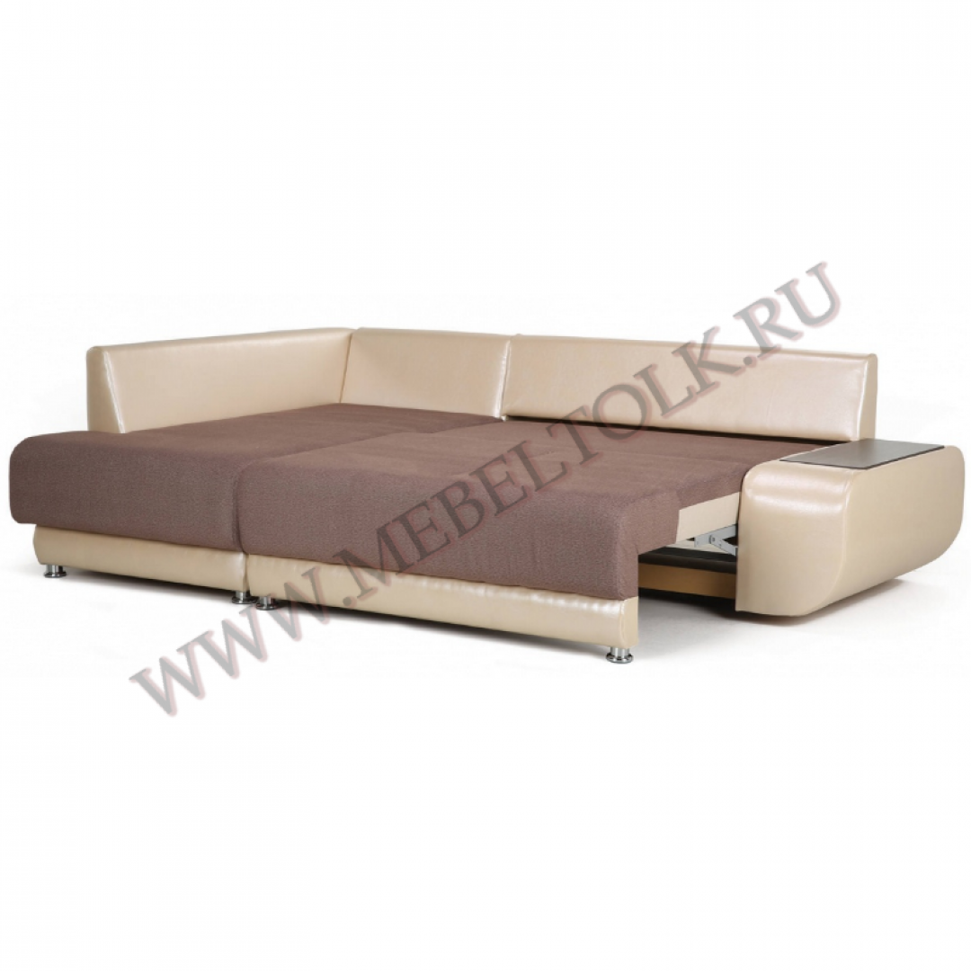 """Угловой диван """"Бруно левый"""" бежево-коричневый"""