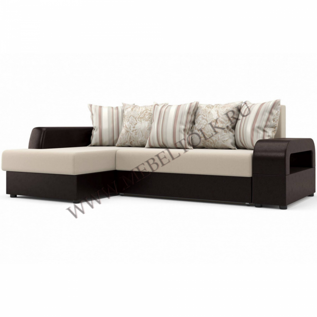 """Угловой диван """"Марго"""" (Левый) бежево-коричневый"""
