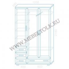 шкаф трехстворчатый «универсал» с выдвижной вешалкой шкафы для одежды и белья