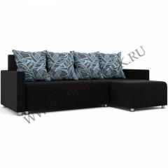 """Угловой диван """"Челси"""" черно-голубой"""